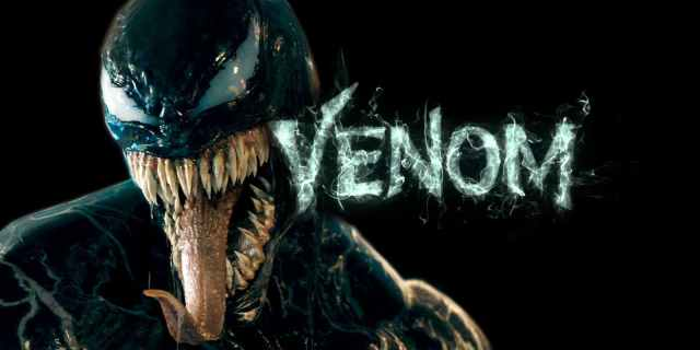 Venom promo image, showing the oil-slick monster all drippy fangs and long pointy tongue next to his name in mist