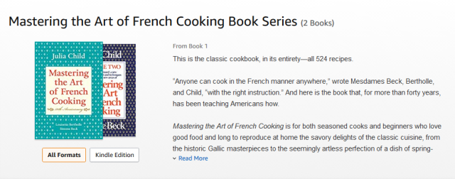 "amazon store page showing Julia Child's classic 2-volume cookbook, ""Mastering the Art of French Cooking"""
