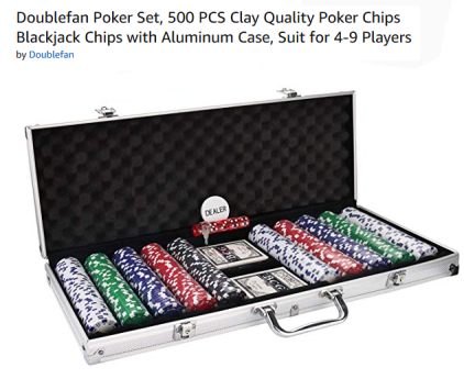 Amazon sales page for set of gambling chips with aluminum case, dice, and cards