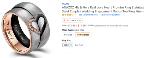 "amazon sales page for stainless steel rings; ""I love you"" engraved inside, a heart on the outside when the rings are aligned"