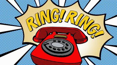 pop-art rotary phone; RING! RING!