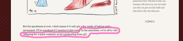 "screenshot from previous blog post with sentence circled in pink: ""In the meantime, we're off to visit Offspring for a quick weekend, as he's graduating from AIT."
