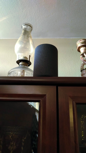low angle shot of an Amazon Echo looming atop a curio cabinet