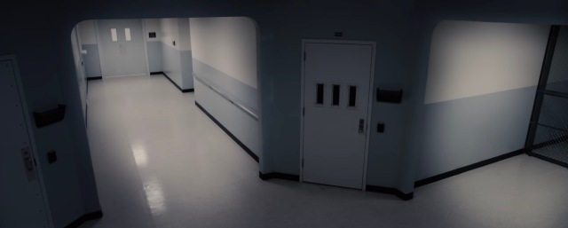 security camera view of hospital corridor. From the movie Glass