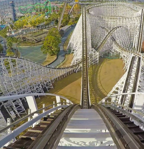 view from the top of old wooden Cyclone roller coaster