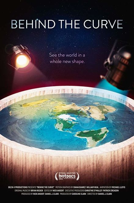 "movie poster for Behind The Curve depicts a discus Earth surrounded by a wall of ""ice"" with ""sun"" and ""moon"" lights suspended above. Tagline: ""See the world in a whole new shape"""