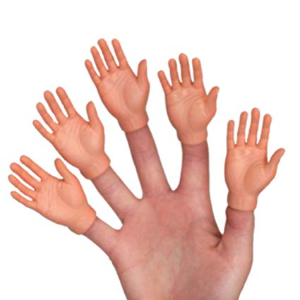 Hand with tiny hands as finger puppets on each finger