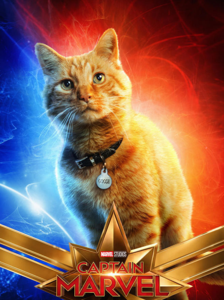 Captain Marvel movie poster featuring orange cat named Goose