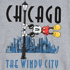 Chicago The Windy City design features city skyline and Mickey Mouse being blown away, clinging to a lamp post