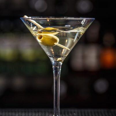 vodka martini with single olive