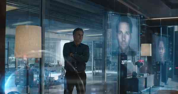(Avengers: Endgame) Bruce Banner looking at Science and displays of Scott Lang (Ant Man) in Avengers Lab