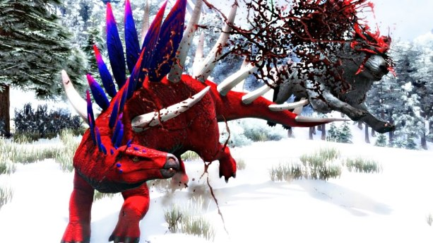 Ark screenshot of spikey dinosaur impaling direwolf and flinging it around; so much blood everywhere