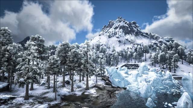 Ark screenshot: snowy mountain and trees, ice-filled river