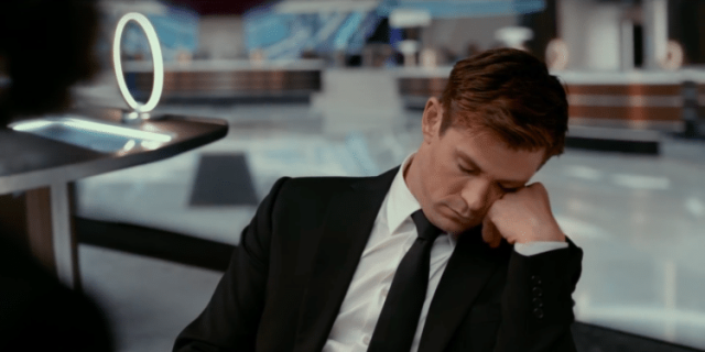 (MiB International) Chris Hemsworth napping in office