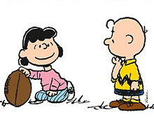 (Peanuts cartoon) Lucy holding football for Charlie brown to kick