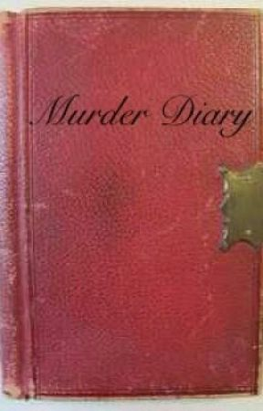 vintage red leather journal, labeled Murder Diary