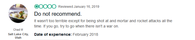 (Trip Advisor review) It wasn't too bad except for the constant mortar attacks; if you do go, try to go when there's not a war on.