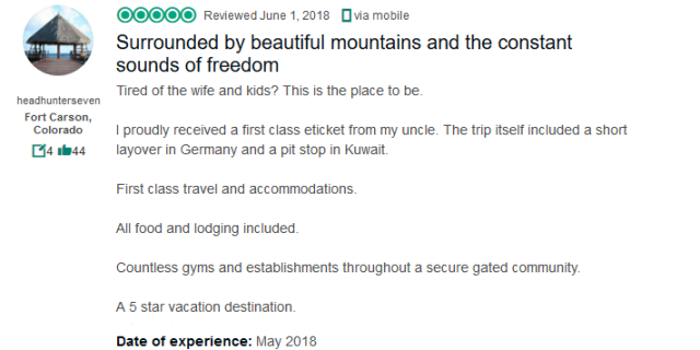 (Trip Advisor Review) First class ticket was provided by my uncle, all food and lodging included.  Countless gyms and establishments in a secure gated community.