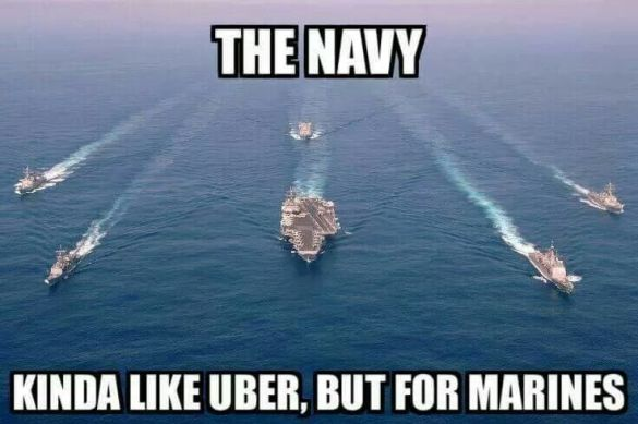 "navy ships on ocean; text reads: ""the Navy: kinda like Uber, but for Marines"""