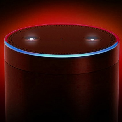 Amazon Echo Plus with multicolored ring light activated, surrounded by ominous red glow