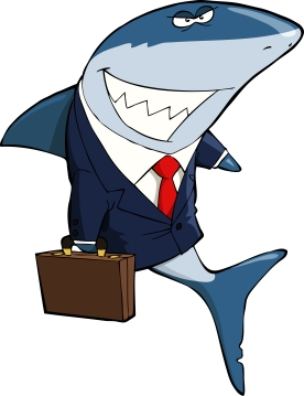 cartoon shark as a lawyer with suit and briefcase