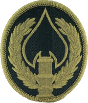 Special Operations Joint Task Force Afghanistan OCP Patch (stylized spearhead perched on a gold column, framed by gold laurels)