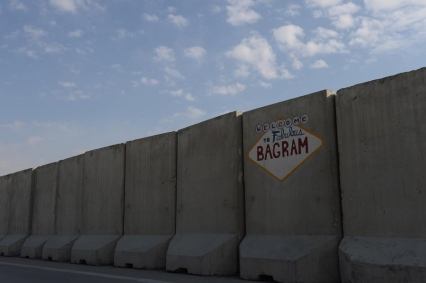 "vegas-style sign reads, ""Welcome to Fabulous Bagram"""