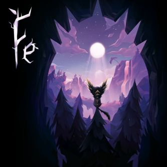 Fe game cover art features an adorable little fox-like creature sitting on top of a pine tree in a magical forest overlooking a waterfall-fed pond under a full moon; all in shades of pink, blue, and purple