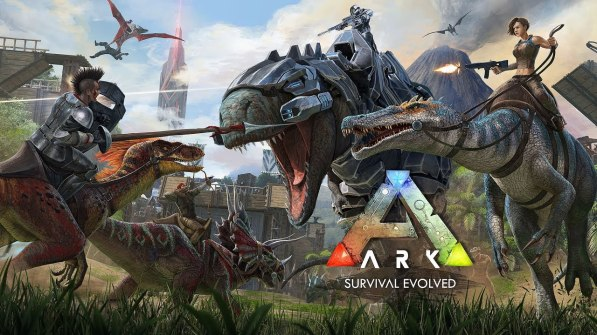 Ark: Survival Evolved game cover features armed humans riding armed and armmoured dinosaurs because AWESOME