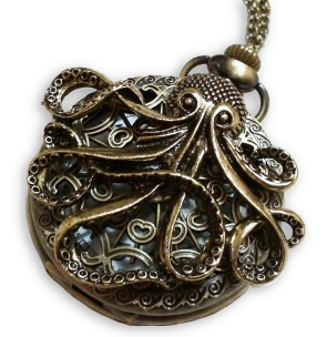 bronzed pocket watch with cthulhu/octopus design