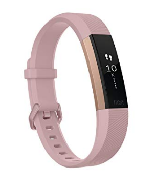rose gold fitbit with pink band