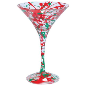 red and green spattered martini glass
