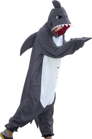 adult in a shark onesie