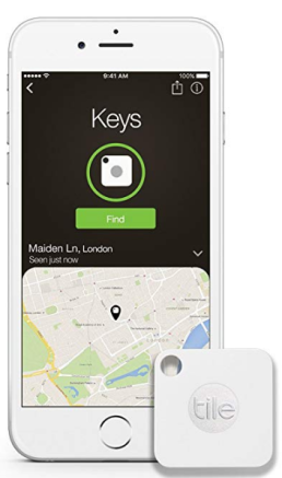white smartphone with tile app displaying location of item: Keys
