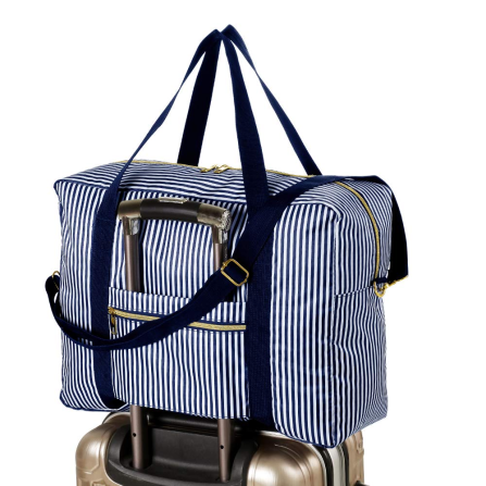 striped travel duffle; attaches to carry-on handle.