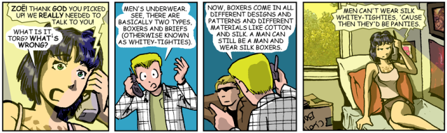 Sluggy Freelance strip where Torg calls Zoe to explain his realization that men's boxers can come in many colors and fabrics, but briefs can't be anything but cotton or they'd be panties